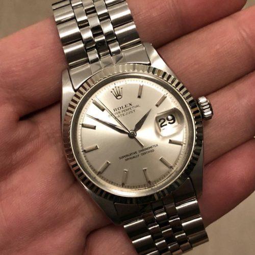 Vintage Datejust 1601 silver dial leaf hands